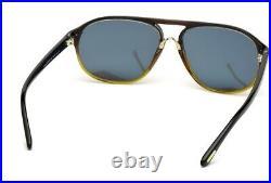 Tom Ford Jacob Tf447f 05c Brown Mirrored Black Round Pilot Sunglasses Mens Tf447