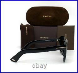 Tom Ford Julia FT0582 01F Shiny Black / Brown Gradient 50mm Sunglasses TF0582