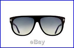 Tom Ford Kristen Unisex Sunglasses Shiny Black Grey Gradient Ft 0375 02n