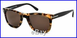 Tom Ford Leo Unisex Sunglasses Shiny Havana Torte Black Roviex Brown 0336 55j