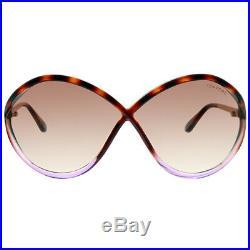 Tom Ford Liora FT 0528 55F Havana Violet Plastic Sunglasses Brown Gradient Lens