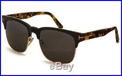Tom Ford Louis Square Sunglasses Black Gold Havana Polarized Grey Ft 0386 01d