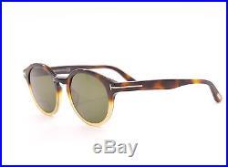 Tom Ford Lucho TF 400 58N Havana Brown Beige Round Sunglasses 49mm tf400 58n