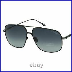 Tom Ford Men John-02 FT-0746-01W Sunglasses Black Titanium Aviator Gray Gradient