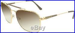 Tom Ford Men's Edward FT0377-28K-58 Gold Square Sunglasses