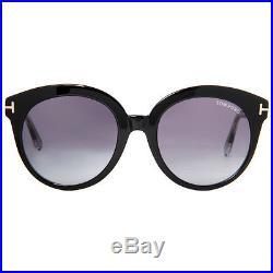 Tom Ford Monica TF 429 03W Shiny Black Crystal Gradient Women's Round Sunglasses