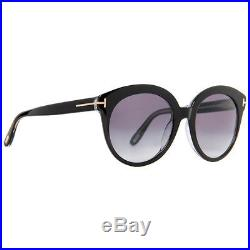 Tom Ford Monica TF429 03W Shiny Black Crystal Gradient Women's Round Sunglasses