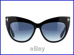 Tom Ford Nika TF 523 01W 56mm Black Frame Blue Gradient Women Sunglasses TF0523