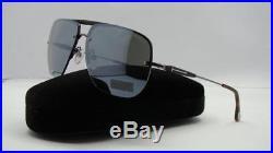 Tom Ford Nils TF 380 09Q Gunmetal Brown Sunglasses Silver Mirror Lens Size 61
