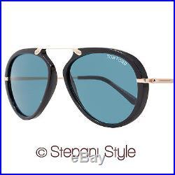 Tom Ford Oval Sunglasses TF473 Aaron 01V Shiny Black/Gold FT473