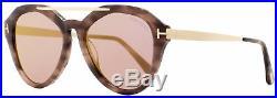 Tom Ford Oval Sunglasses TF576 Lisa-02 55Z Coloured Havana/Gold 54mm FT0576