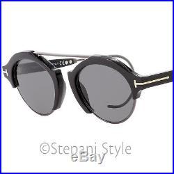 Tom Ford Oval Sunglasses TF631 Farrah-02 01A Black/Gunmetal 49mm FT0631