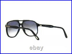 Tom Ford RAOUL FT0753 753 01B Shiny Black Grey Gradient Lens Large Sunglasses 62
