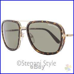 Tom Ford Rectangular Sunglasses TF340 Riccardo 28N Havana/Gold FT0340