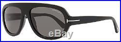 Tom Ford Rectangular Sunglasses TF444 Hugo 01A Shiny Black/Gold FT0444