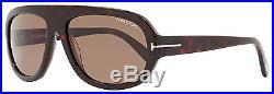 Tom Ford Rectangular Sunglasses TF444 Hugo 54J Red Havana/Gold FT0444