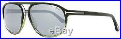 Tom Ford Rectangular Sunglasses TF447 Jacob 96C Gradient Green/Gunmetal FT0447