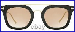 Tom Ford Rectangular Sunglasses TF541 Alex-02 01F Black/Gold 51mm FT0541