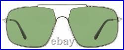 Tom Ford Rectangular Sunglasses TF585 Aiden-02 12N Dark Ruthenium/Havana 60mm FT