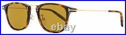 Tom Ford Rectangular Sunglasses TF672 Beau 53E Dark Havana/Gold 51mm FT0672