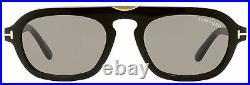 Tom Ford Rectangular Sunglasses TF736 Sebastian-02 01A Black/Gold 53mm FT0736