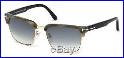 Tom Ford River Clubmaster Sunglasses Green Horn Blue Grey Gradient Ft 0367 60b
