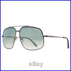 Tom Ford Ronnie TF 439 01Q Gunmetal Blue Gradient Square Aviator Sunglasses