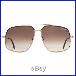 Tom Ford Ronnie TF 439 48F Gold/Havana Brown Square Aviator Sunglasses
