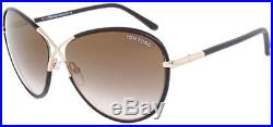 Tom Ford Rosie Gold-Toe Butterfly Sunglasses with Gradient Mirror Lens FT0344 48G