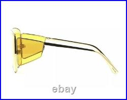 Tom Ford SPECTOR FT0708 TF 708 30E Gold Yellow Lens Shield Sunglasses Authentic
