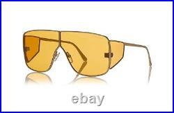 Tom Ford SPECTOR FT0708 TF 708 33E Gold Orange Lens Shield Sunglasses Authentic