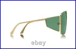 Tom Ford SPECTOR FT0708 TF 708 33N Gold Green Lens Shield Sunglasses Authentic