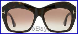 Tom Ford Square Sunglasses TF534 Emmanuelle 52F Dark Havana 54mm FT0534