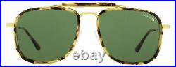 Tom Ford Square Sunglasses TF665 Huck 56N Tortoise/Gold 56mm FT0665