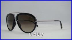 Tom Ford Stacy TF 452 01K Black & Silver Aviator Sunglasses Gradient Roviex Lens