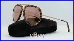 Tom Ford Stacy TF 452 53Z Blonde Havana Aviator Sunglasses Rose Gold Mirror Lens