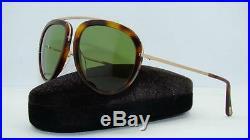 Tom Ford Stacy TF 452 56N Havana & Gold Aviator Sunglasses Green Lens Size 57