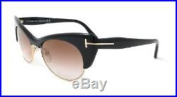 Tom Ford Sunglasses FT0387 01G Shiny Black/Gold/ Brown Gradient Gold Flash