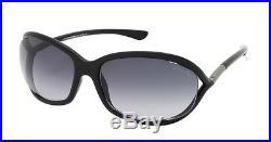 Tom Ford Sunglasses Jennifer FT 0008 01B Shiny Black Grey Gradient Lens 61mm