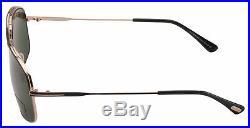 Tom Ford Sunglasses Justin FT0467 02N Matte Black Gold Frame Green Lens