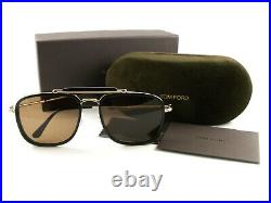 Tom Ford Sunglasses TF665 Huck 01E Black Brown FT0665/S New Authentic