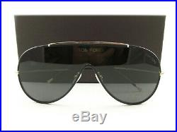 Tom Ford Sunglasses TF671 Mack Black Leather Gold 01A FT0671/S New Authentic