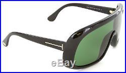 Tom Ford Sven TF 0470 56E Shield Sunglasses Shiny Black/Dark Green Lens