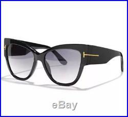 Tom Ford TF 371 01B Anoushka Black Gold Smoke Grey Sunglasses Women Cateye Italy