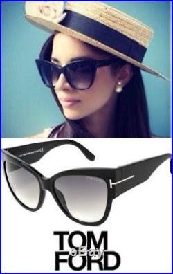 46e335a1a4b13 Tom Ford TF 371 F 01B Anoushka Black Gold Smoke Grey Sunglasses Women Cat  Italy