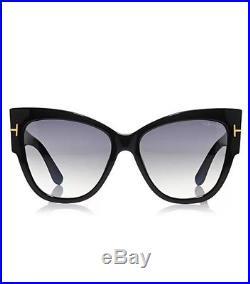Tom Ford TF 371 F 01B Anoushka Black Gold Smoke Grey Sunglasses Women Cat Italy