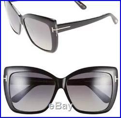 Tom Ford TF 390 IRINA 01B Black Gold FT0390 Grey Smoke Women Sunglasses ITALY