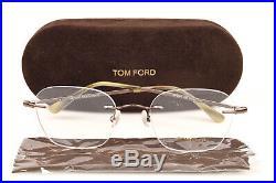 Tom Ford TF5341 brown rimless metal square optical frame eyeglasses NEW $385