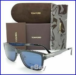 Tom Ford TF5475 12V Ruthenium/Blue Mens Eyeglasses WithMagnetic Clip On Sunglasses