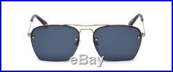Tom Ford WALKER FT0504S 28V 57 Semi Rimless Pilot Sunglasses Gold Dark Blue